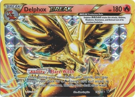 14/124 Delphox Break Pokemon Card Fates Collide Rare Break ...
