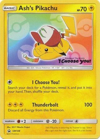 Ash's Pikachu – SM108 – Sealed Promo (w/ Random Common Card)